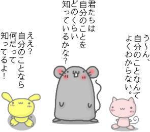 ネズミ「君たちは、自分のことをどのくらい知っているかな?」 ウサギ「ええ?自分のことなら、何だって知っているよ」 ネコ「自分のことなんて、よくわからない」